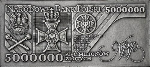 plakieta, tombak srebrzony, 5000 000 zł 1995, Piłsudski, 90 rocznica odzyskania niepodległości