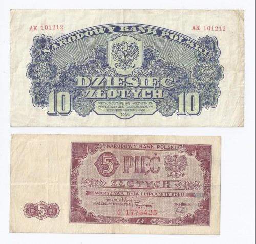 zestaw 2 banknotów, 10 zł 1944, obowiązkowym oraz 5 zł 1948