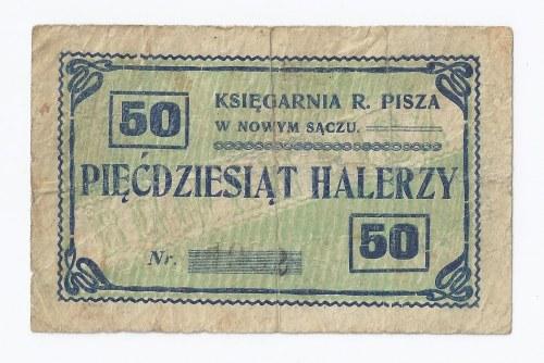 bon Nowy Sącz, 50 halerzy, 1919, Księgarnia R. Pisza w Nowym Sączu (na odwrocie podpis Roman Pisz)