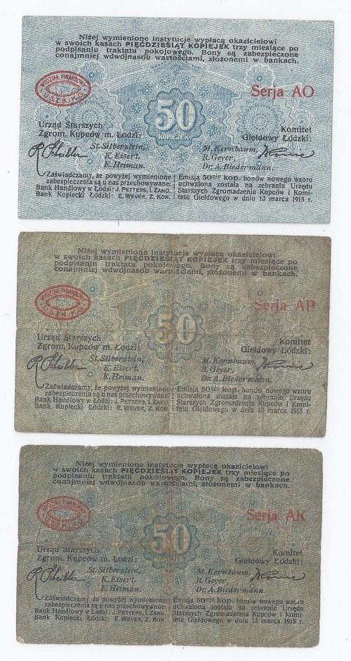 zestaw 3 bonów Łódź, 50 kopiejek, 13.03.1915, każdy walor ma inną serię