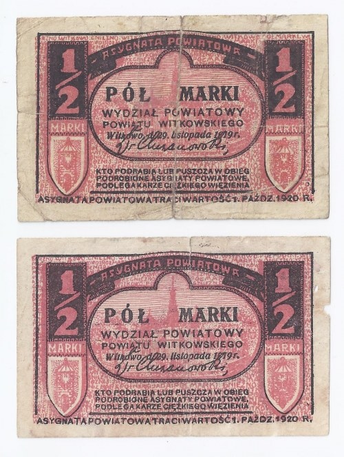 zestaw 2 bonów Gniezno, 2x1/2 marki (odmiana jasna i ciemna), 1919