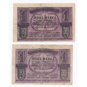 zestaw 2 bonów Gniezno, 2x1 marka (odmiana jasna i ciemna), 1919