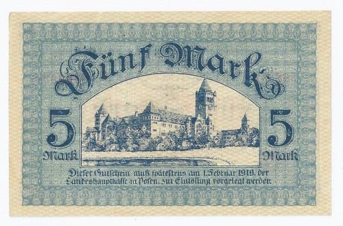 bon Poznań, 5 marek, 1918, przepiękny, sztywny, szeleszczący papier