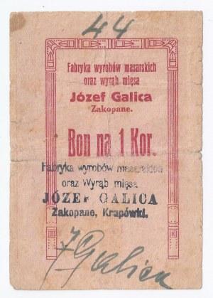 bon Zakopane, 1 korona, 1919, Fabryka wyrobów masarskich oraz Wyrąb mięsa Józef Galica Zakopane, Krupówki, bardzo rzadki walor, najniższy znany numer oferowany na rynku aukcyjnym
