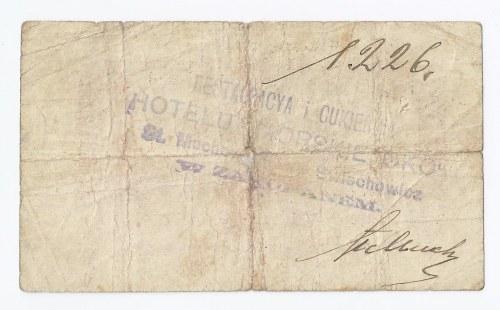 bon Zakopane, bon na 1 koronę Cukierni i Restauracyi hotelu Morskie Oko S. Muchowicza i A. Świechowicza, bardzo rzadki walor, na odwrotnej stronie stempel, podpis i numer