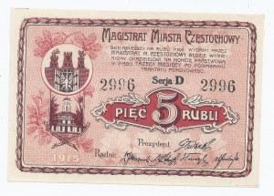 bon Częstochowa, 5 rubli, 1915, piękny
