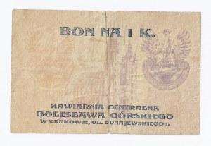 bon Kraków, 1 korona, Bolesław Górski, KAWIARNIA CENTRALNA, 29.V.1919