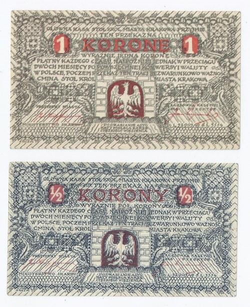 zestaw 2 Kraków, 1/2 korony, Pod. tom I, G-130 1. b), stan: III oraz 1 korona, Pod. tom I, G-130 2. a), stan: I-, GMINA STOŁ. KRÓL. MIASTA, b.d. (1919)