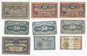 zestaw 9 bonów Bydgoszcz, 10 i 50 fenigów 1916, 3x50 fenigów 1919, 2x10 fenigów oraz 2x50 fenigów 1920