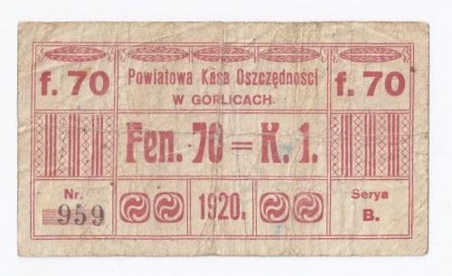 bon Gorlice, 70 fenigów=50 1 korona, 1920