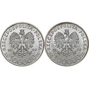 zestaw 2 x 100 000 zł 1990, Solidarność, Ag