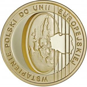 200 zł 2004, wstąpienie Polski do UE, Au 900, oryginalne zielone pudełko NBP plus certyfikat