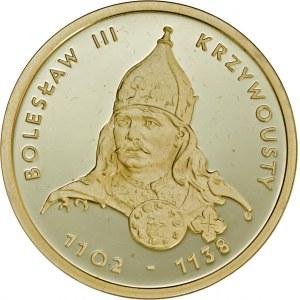 100 zł 2001, Bolesław Krzywousty, Au 900, oryginalne zielone pudełko NBP plus certyfikat