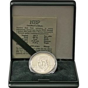 200 zł 2004, Ateny Au 900, orygnalne zielone pudełko NBP plus certyfikat