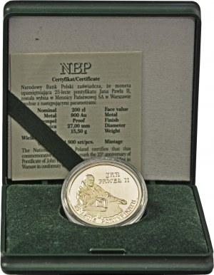 200 zł 2003, Jan Paweł II 25 lat pontyfikatu, Au 900, oryginalne zielone pudełko NBP plus certyfikat