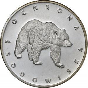 100 zł 1983, Ochrona Środowiska - Niedźwiedź, Ag 625, moneta zapakowana w pudełko typu quadrum