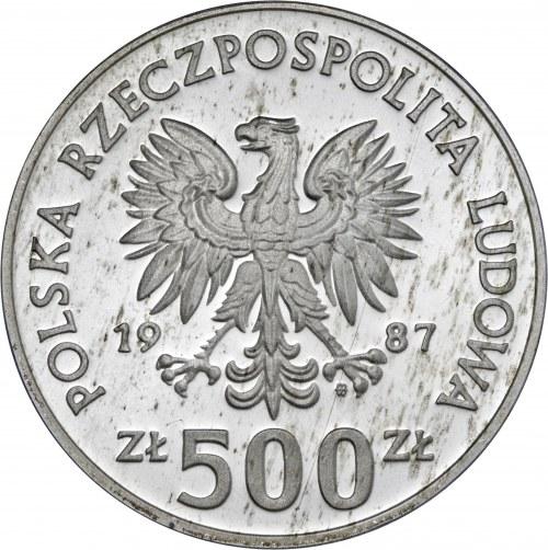 500 zł 1987, Igrzyska XXIV Olimpiady Seul 1988, Ag750, moneta zapakowana w pudełko typu quadrum