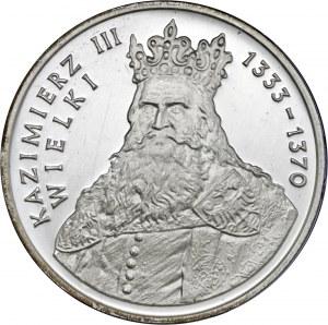 500 zł 1987, Kazimierz III Wielki, Ag750, moneta zapakowana w pudełko typu quadrum