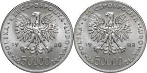 2x50 000 zł 1988, Józef Piłsudski, Ag750, moneta zapakowana w opakowanie typu quadrum