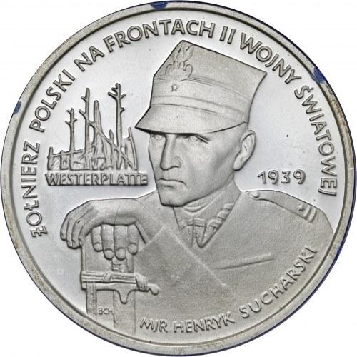 5 000 zł 1989, Żołnierz Polski na Frontach II Wojny Światowej - Westerplatte, Ag 750, moneta zapakowana w pudełko typu quadrum