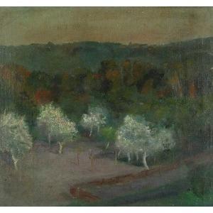 Jan CHRZAN (1905-1993), Biały sad, lata 30. XX w.