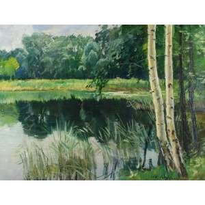 Artur WASNER (1887-1939), Pejzaż z jeziorem i brzozami, ok. 1915