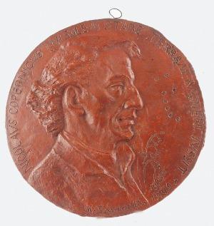 Konstanty LASZCZKA (1865-1956), Plakieta z profilem Mikołaja Kopernika, 1949
