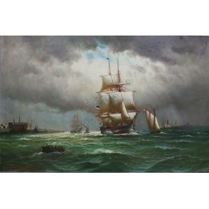 Alfred Jensen (1859-1935), Statek wpływający do portu (1907)