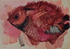Barbara Jonscher (1926-1986), Brązowa ryba na różowym tle(na odwrociu szkic kobiecej głowy)