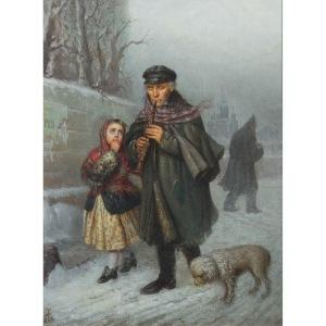 Julian Bończa Tomaszewski (1894 Petersburg - 1920 Nicea), Żebrak - klarnecista z dziewczynką i psem, 1868