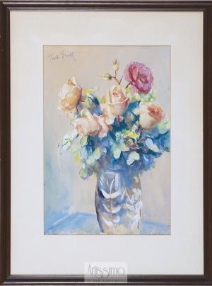 Teodor Grott, Róże w niebieskim wazonie