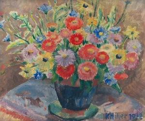 Karol HILLER (1891-1939), Kwiaty w wazonie, 1938