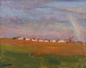 Ferdynand RUSZCZYC (1870-1936), Tęcza nad wsią, 1897-1898