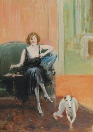 Jan CHEŁMIŃSKI (1851-1925), Portret kobiety w czarnej sukni