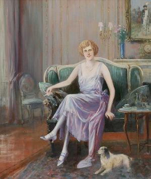 Jan CHEŁMIŃSKI (1851-1925), Portret kobiety w sukni lila-róż