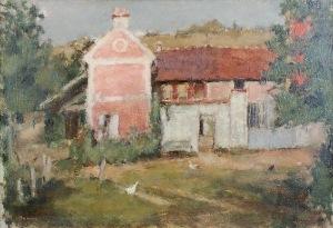Bencion RABINOWICZ - BENN (1905-1989), Przed domem