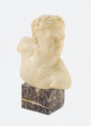 Otto POERTZEL (1876-1963), Popiersie młodzieńca w laurowym wieńcu