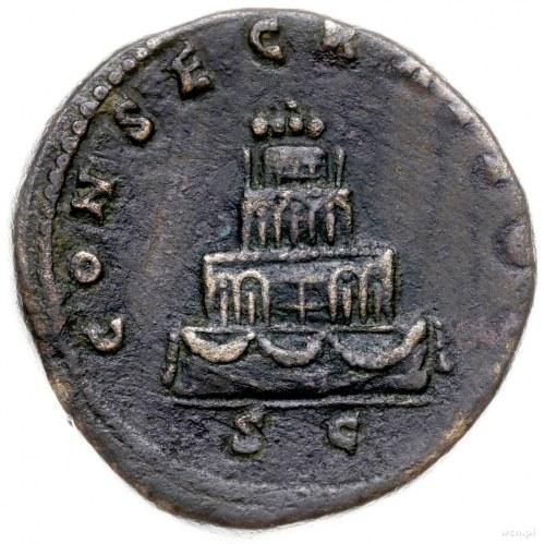 sestercja pośmiertna po 161 r.; Aw: Głowa Antoniusza Pi...