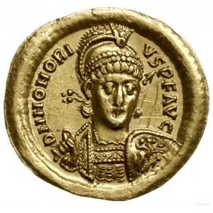 solidus 403-408, Konstantynopol; Aw: Popiersie cesarza ...