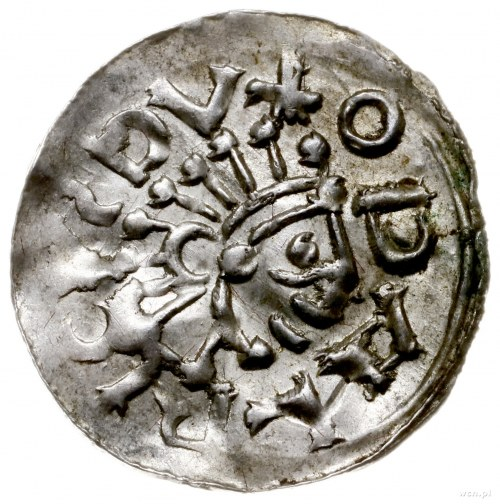 denar 1012-1034, mennica Praga; Aw: Popiersie w prawo, ...