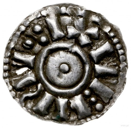 denar ok. 1002-1015; Aw: Kulka w obwódce; Rw: Krzyż z k...