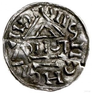 denar 1002-1009, mincerz Theuda; Krzyż z kółkiem, dwoma...