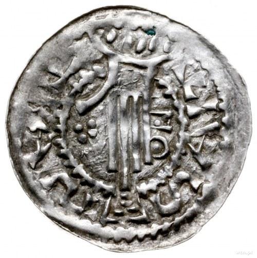 denar 1002-1024; Aw: Głowa króla w koronie w prawo; Rw:...