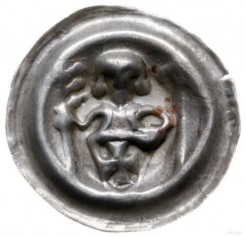 brakteat ok. 1247-1258; Rycerz z tarczą, proporcem i kr...