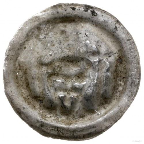 brakteat ok. 1247-1258; Rycerz z tarczą, krzyżem i prop...