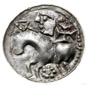 denar książęcy 1070-1076; Aw: Głowa w lewo w obwódce, B...