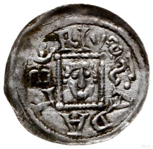 denar z lat 1146-1157; Aw: Książę z mieczem trzymanym p...