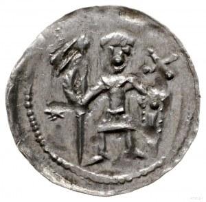 denar z lat 1146-1157; Aw: Rycerz stojący na wprost z p...