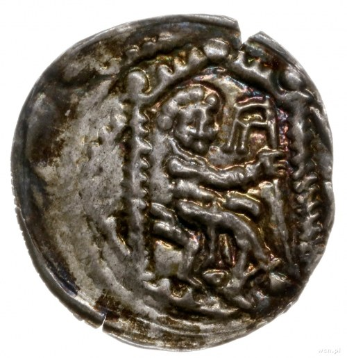 brakteat 1194-1227?; Książę siedzący na tronie w prawo,...