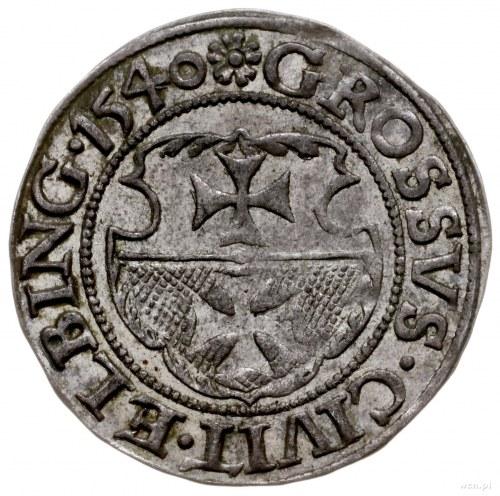 grosz 1540, Elbląg; na awersie PRVSS kończy napis; Kop....